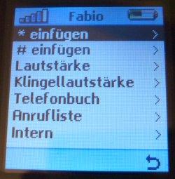 Fritz!Mini Telefonmenü