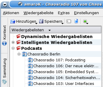 Abonnierte Podcasts in amaroK