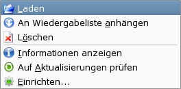 Optionsliste bei Podcasts