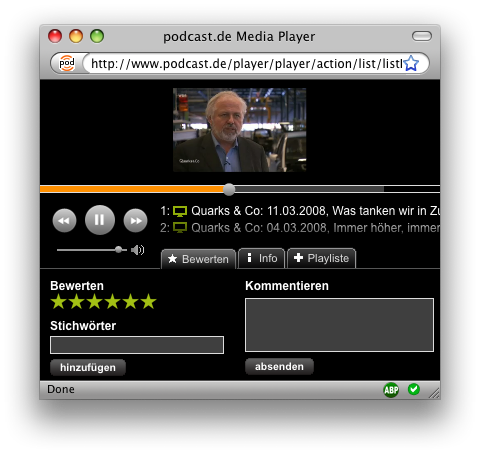 Podcast Media Player Video Tab up