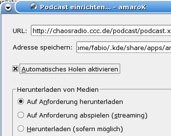 Podcast-Einstellungen bei amaroK