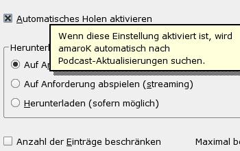 Automatisches Podcatching mit amaroK