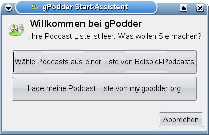 gPodder - Startwizard