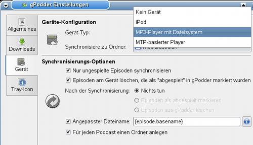 gPodder - Synchronisierung Player