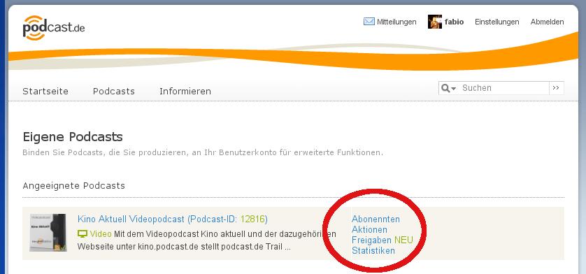 podcast.de Eigene Podcasts
