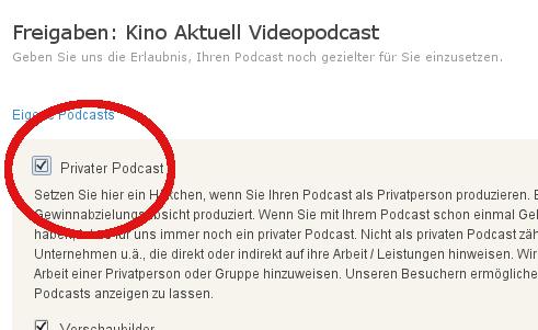 podcast.de Freigaben