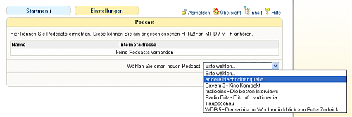 Fritz!Fon Podcast-Feature Auswahl
