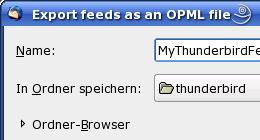 Thunderbird - OPML Dateien exportieren