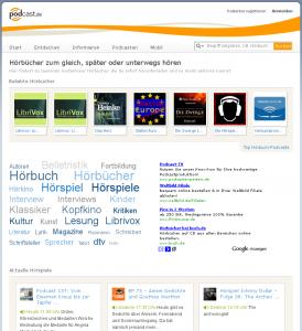 podcast.de Hörbuch-Bereich mit kostenlosen Hörbüchern