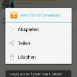 Aktionen für einen Download