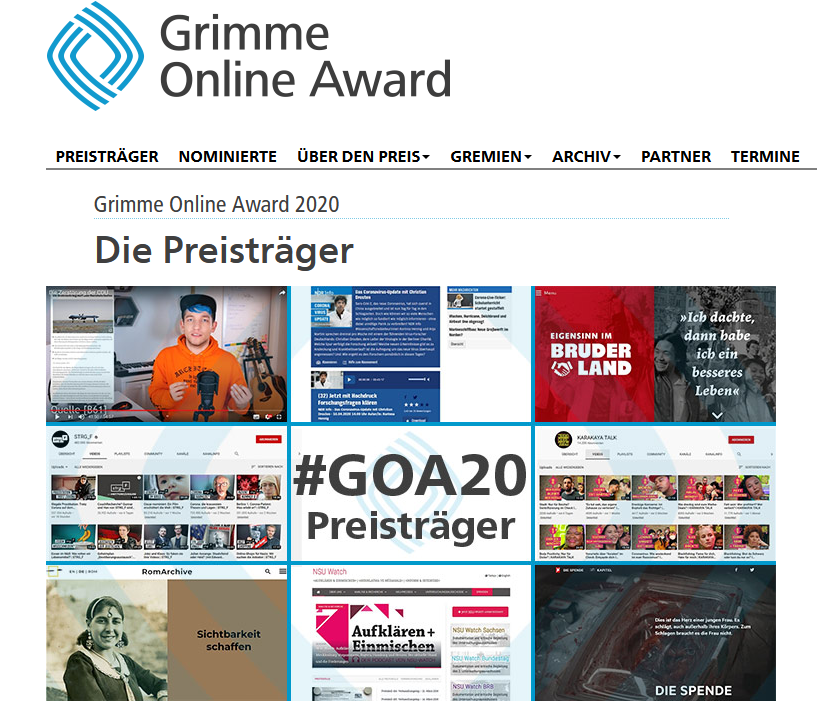 Preisträger des Grimme Online Awards 2020 als Screenshot.