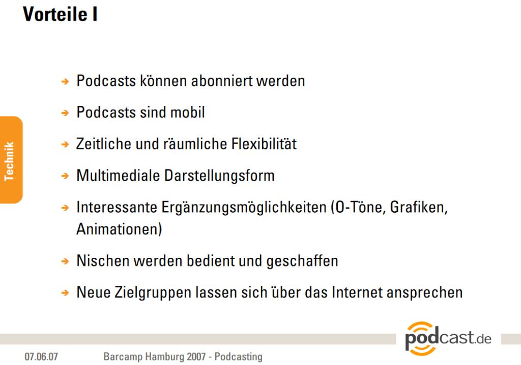 Präsentationsfolie von Fabio Bacigalupo. Podcasts damals und heute. 2007